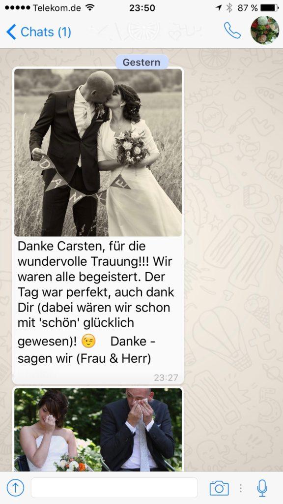 Dankeschön vom Brautpaar Freie Trauung Saloppe Dresden