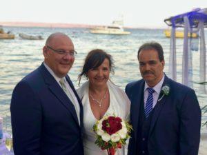 Strandhochzeit in Ägypten, Carsten Riedel, Hochzeitsredner mit dem Brautpaar, Caribbean Bar Hurghada, Bella Vista Resort Hurghada
