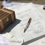 freie Trauung in Englisch auf Schloss Niederweis - Urkunde